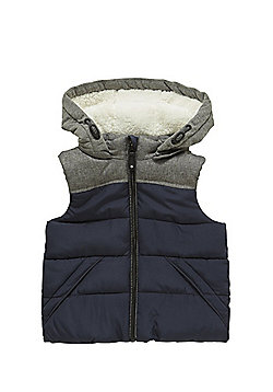 F&F Quilted Fleece Lined Hooded Gilet - Navy
