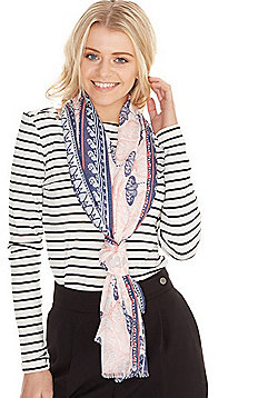 F&F Butterfly Paisley Print Scarf - Pink & Purple