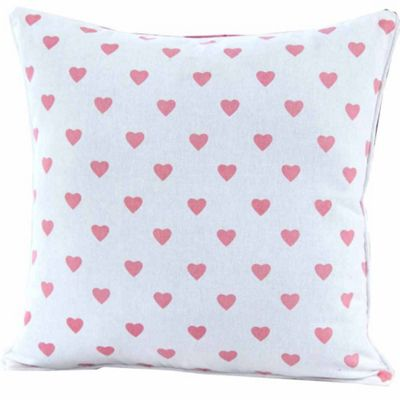Homescapes Cotton Pink Hearts and Polka Dots Cushion Cover, 45 x 45 cm