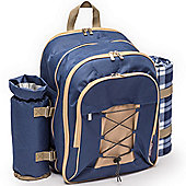 Andrew James Picnic Backpack - 4 Person Set Includes Fleece & Cooler Bag - Blue