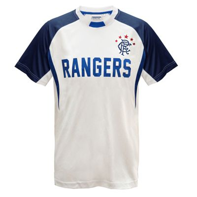 Rangers FC Mens Poly T-Shirt White Small