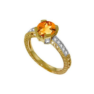 QP Jewellers Diamond & Citrine Fantasy Ring in 14K Gold - Size T