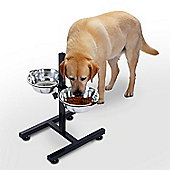 Pawhut Pet Feeder Stainless Steel 2 Dog Feeding Bowls Height Adjustable