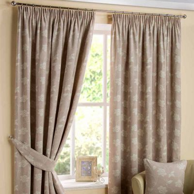 Homescapes Natural Ready Made Linen Curtain Pair Pasted Floral Design 46x54