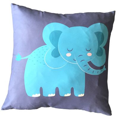 Puckator Scatter Cushion with Insert, Elephant Design, 50x50cm
