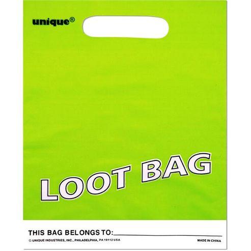Party Bags Plastic Plain Lime Green (8pk)