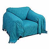 Homescapes Nirvana Slub Cotton Teal Throw, 255 x 360 cm