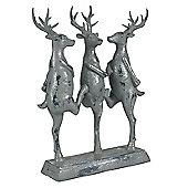 Grey Polyresin Dancing Reindeers