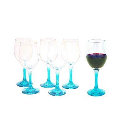Set of 6 Wine Blue Stemmed Glasses