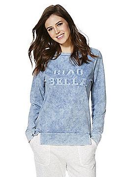 F&F Ciao Bella Slogan Denim-Look Sweatshirt - Blue