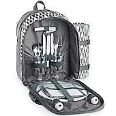 VonShef 2 Person Picnic Backpack Bag Set - Grey