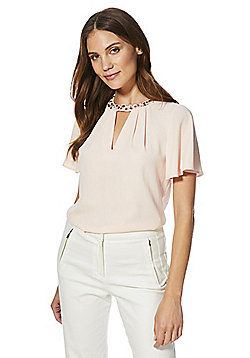F&F Embellished Pleat Neck Blouse - Blush pink
