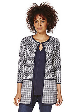 F&F Tile Pattern Open Front Jacket - Navy & White