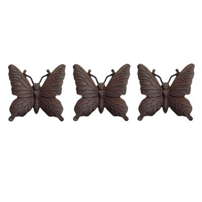 Set of Three Wall Mountable Vintage Finish Cast Iron Butterfly Garden Ornaments