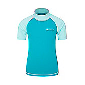 Mountain Warehouse Boys Rash Vest SPF50+ Treatment with Flat Seams for Swimming - Teal