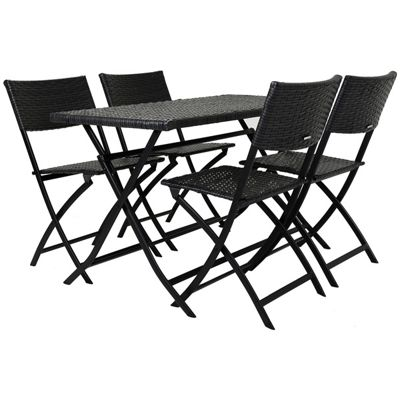 Charles Bentley 5 Piece Grey Rattan Bistro Set