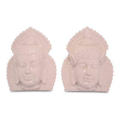 White Ceramic Ornamental Buddha Head Wall Art - Set of Two