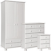 Nordic White Bedside, 2+4 Chest, 2 Door 2 Drawer Wardrobe Package
