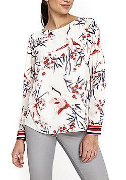 Wallis Striped Cuff Bird Print Top - Cream