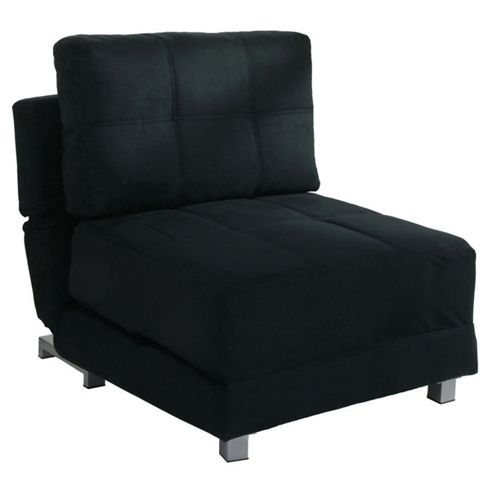 Leader Lifestyle Rita Futon Chair Bed - Black Faux Suede