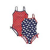 F&F 2 Pack of Fish Print and Polka Dot Swimsuits - Blue & Red