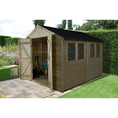 Forest Garden Tongue and Groove Pressure Treated 10x8 Double Door Apex Shed Installed
