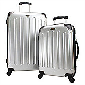 Swiss Case 4 Wheel Hard 2Pc Suitcase Set Silver