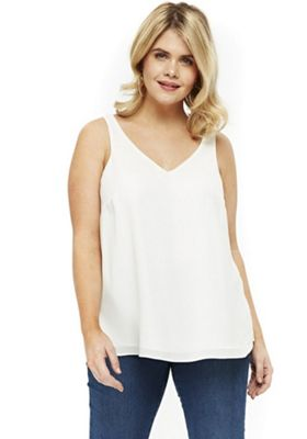 Evans Ivory Double Layer Plus Size Cami Top Ivory 14