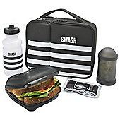 Smash Black Stripes 5 Piece Lunch Bag Water Bottle Set