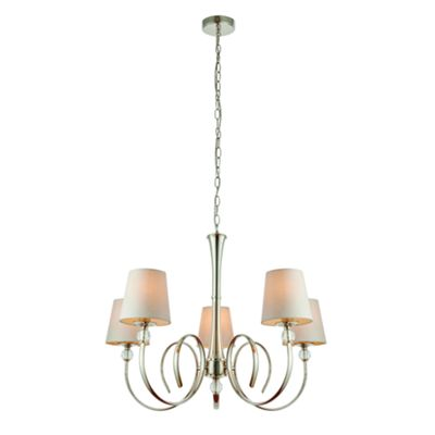 Pendant Light - Polished nickel plate & marble silk