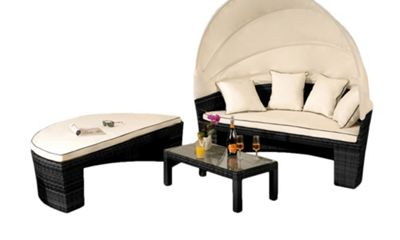 Comfy Living Rattan Sun Lounger Day Bed Garden Furniture In Black With Cover- Table & Canopy Sofa Set