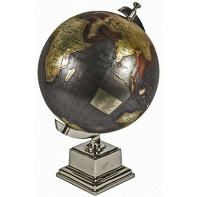 Antiqued World Globe On Aluminium Stand