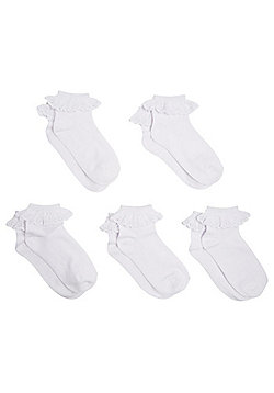 F&F 5 Pair Pack of Broderie Anglaise Frill Socks - White