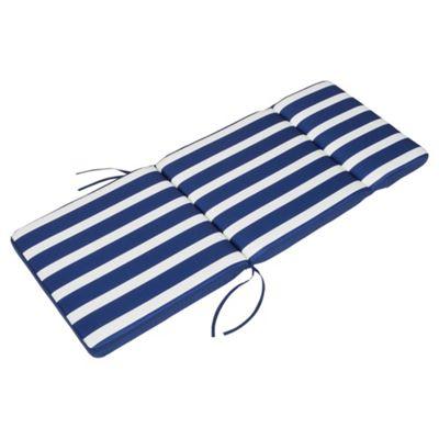 Tesco Striped Polycotton Garden Chair Cushion, Blue & White 112x45cm