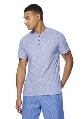 F&F Henley Neck Slub Lounge T-Shirt Blue 2XL