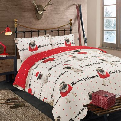 All I Want for Christmas Duvet Cover with Pillowcase Set Pug, Red - Double