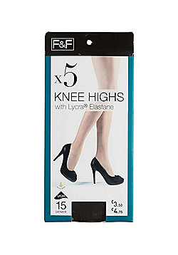 F&F 5 Pair Pack of 15 Denier Knee Highs - Black