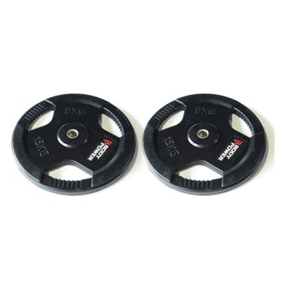 Body Power Rubber Enc Tri Grip Standard (1 Inch) Weight Disc Plates - 15Kg (x2)