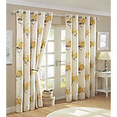 Aston, Floral Eyelet Curtains 72s - Gold