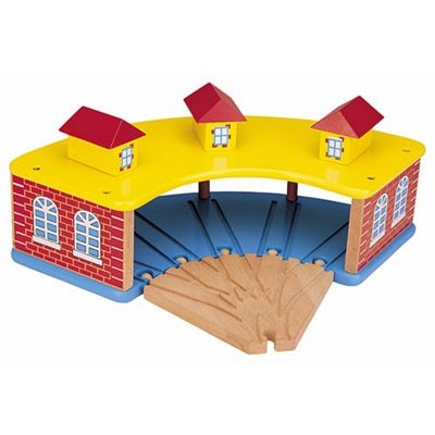 Toys for Play Round House with 5 Way Wooden Train Set Track 50945