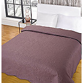 Highams Embroidered Bedspread Comforter Throw Silver Pink White - Mauve