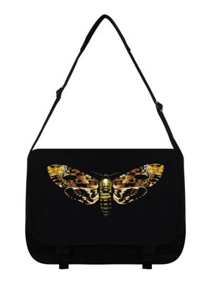 Death Moth Black Messenger Bag 38x33x11cm