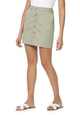 F&F Twill Button-Through Skirt Khaki 8