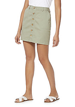 F&F Twill Button-Through Skirt - Khaki