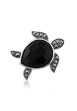 Gemondo Sterling Silver 7.50ct Black Onyx & 0.29ct Marcasite Turtle Brooch
