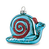 Pair of Blue Metallic Glass Snails Novelty Christmas Decoration Baubles