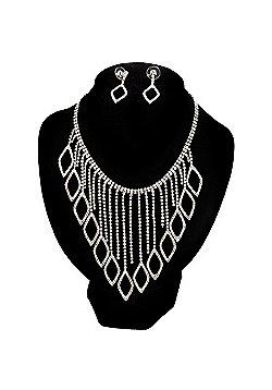 Divine Extravagance Swarovski Crystal Bib Necklace And Dangle Earring Set (Silver Tone)