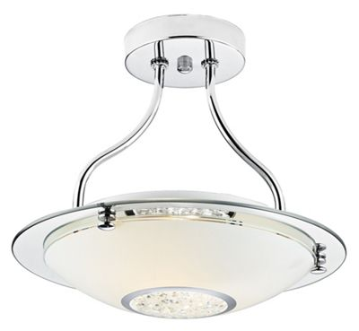 Modern chrome glass semi flush ceiling light with crystal bead decoration