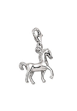 Rhodium Coated Sterling Silver Horse Link Charm