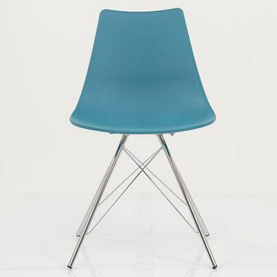 Nova Marine Blue Plastic Dining Chair Metal Leg